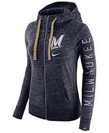 Nike Women's Milwaukee Brewers Gym Vintage Full Zip Hooded Sweatshirt