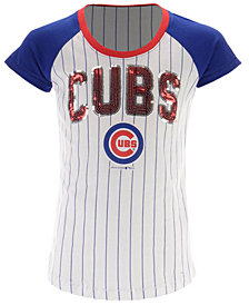 5th & Ocean Chicago Cubs Sequin Pinstripe T-Shirt, Girls (4-16)