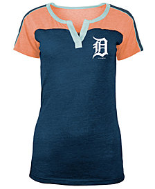 5th & Ocean Women's Detroit Tigers Color Block V-Notch T-Shirt