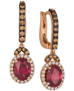 Raspberry Rhodolite (2-3/4 ct. t.w.) & Diamond (3/4 ct. t.w.) Drop Earrings in 14k Rose Gold