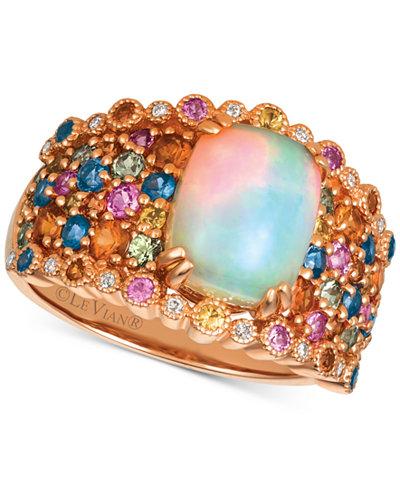 Le Vian® Rainbow Multi-Gemstone (3-1/6 ct. t.w.) & Diamond Accent Ring in 14k Rose Gold