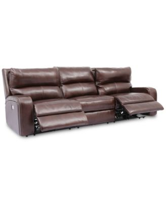 "CLOSEOUT! Brant 111"" 3-Pc. Leather Power Reclining Sofa With 2 Power Recliners,  Power Headrests And USB Power Outlet"