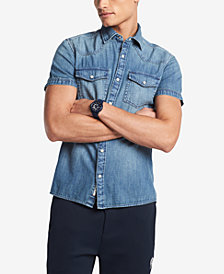 Tommy Hilfiger Denim Men's Short-Sleeve Western Denim Shirt, Created for Macy's