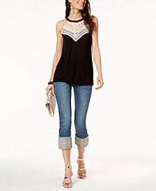 I.N.C. Crochet-Trim Halter Top & Embroidered Cuffed Jeans, Created for Macy's
