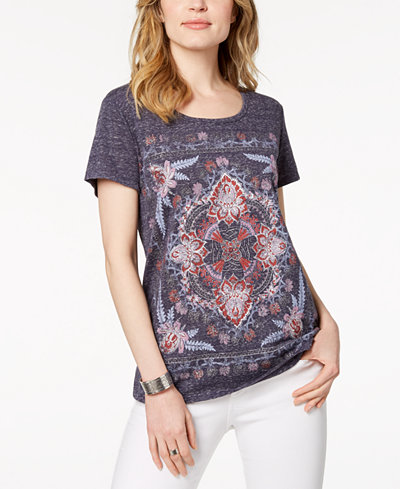 Style & Co Petite Glitter-Print T-Shirt, Created for Macy's