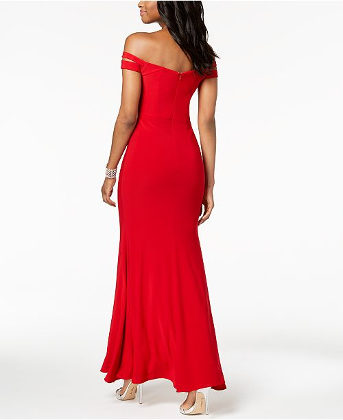 Cold amp; in Gown Sizes Shoulder XSCAPE Petite Missy Red qFxHCXw
