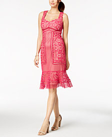 JAX Crochet Lace Ruffle-Hem Dress