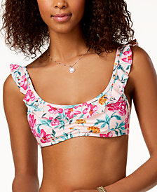 California Waves Juniors' Ruffled Bralette Bikini Top, Created for Macy's