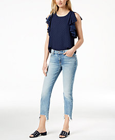 7 For All Mankind Roxanne Frayed Skinny Jeans