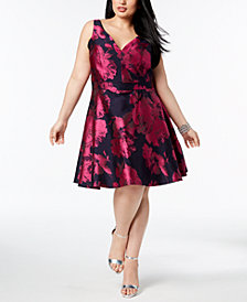 XSCAPE Plus Size Printed Fit & Flare Dress
