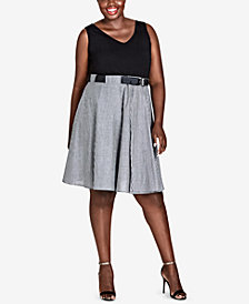 City Chic Trendy Plus Size Contrast Fit & Flare Dress