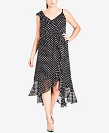 City Chic Trendy Plus Size Flounce Polka-Dot Midi Dress
