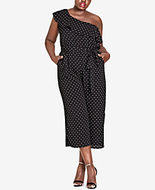 City Chic Trendy Plus Size Polka-Dot One-Shoulder Jumpsuit