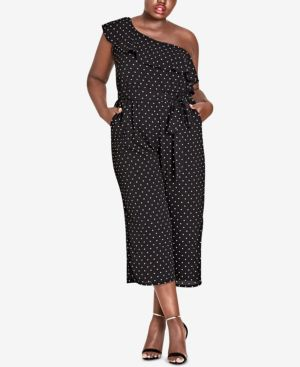 TRENDY PLUS SIZE POLKA-DOT ONE-SHOULDER JUMPSUIT