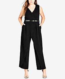 City Chic Trendy Plus Size Belted Wide-Leg Jumpsuit