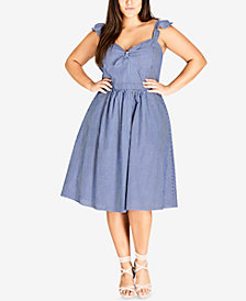 City Chic Trendy Plus Size Cotton Striped Dress