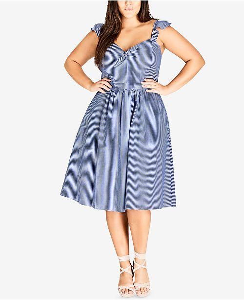 City Chic Trendy Plus Size Cotton Striped Dress & Reviews ...
