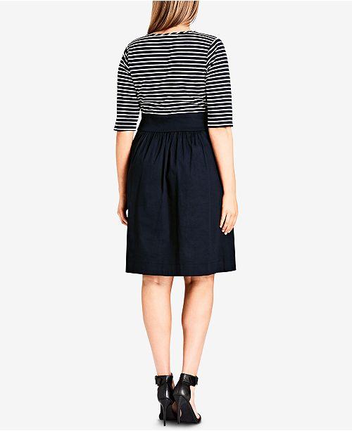 Neck Chic amp; Flare Plus Surplice Trendy Dress Navy City Size Fit 1Xxw0d0q8