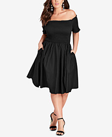 City Chic Trendy Plus Size Smocked Off-The-Shoulder Dress