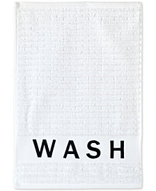 DKNY Chatter Cotton Embroidered Ribbed Fingertip Towel