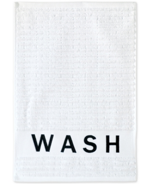 Image of Dkny Chatter Cotton Embroidered Ribbed Fingertip Towel Bedding