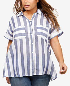 Lucky Brand Trendy Plus Size Tie-Back Shirt