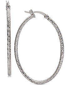Giani Bernini Medium Textured Oval Hoop Earrings in Sterling Silver, Created for Macy's