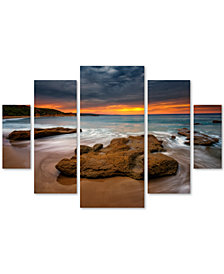 Lincoln Harrison 'Beach at Sunset 5' Large Multi-Panel Wall Art Set