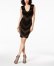 Just Cavalli Metallic Textured-Print Sheath Dress