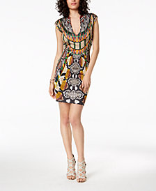 Just Cavalli Deep V-Neck Mixed-Print Sheath Dress