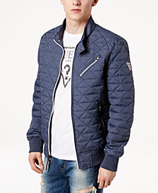 GUESS Men's Water-Resistant Quilted Bomber Jacket