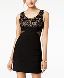Crystal Doll Juniors' Lace-Contrast Bodycon Dress