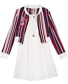 Beautees Big Girls 3-Pc Dress, Bomber Jacket & Necklace Set