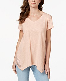Petite Crochet Handkerchief-Hem Top, Created for Macy's