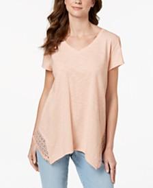 Style & Co Petite Crochet Handkerchief-Hem Top, Created for Macy's