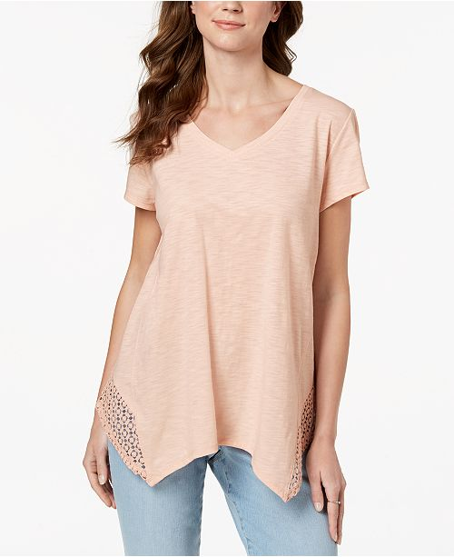 Style & Co Petite Crochet Handkerchief-Hem Top, Created for Macy's