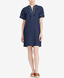 Lauren Ralph Lauren Lace-Up Cotton Denim Dress