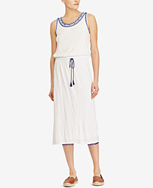 Lauren Ralph Lauren Embroidered-Collar Midi Dress