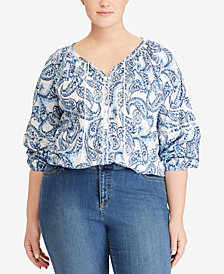 Lauren Ralph Lauren Plus Size Crinkled Cotton Top, Created for Macy's