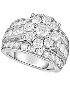 Diamond Flower Cluster Engagement Ring (4 ct. t.w.) in 14k White Gold