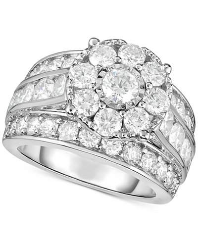 TruMiracle® Diamond Flower Cluster Engagement Ring (4 ct. t.w.) in 14k White Gold