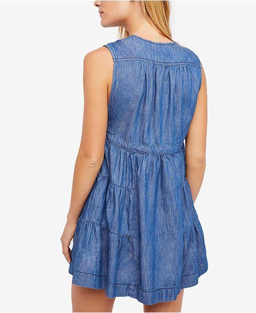 918dbb2a5ea7 Free People Esme Denim Mini Dress   Reviews - Dresses - Juniors - Macy s