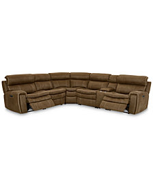 CLOSEOUT! Leilany 6-Pc. Fabric Sectional Sofa with 2 Power Recliners, Power Headrests, Console and USB Power Outlet