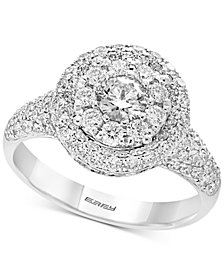 Pavé by EFFY® Diamond Halo Ring (1-1/2 ct. t.w.) in 14k White Gold