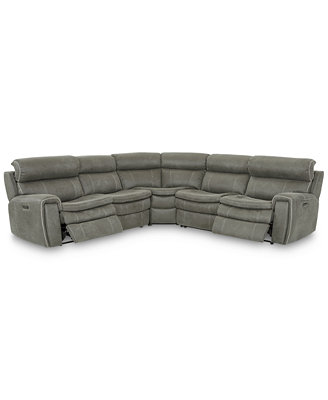 Closeout! Leilany 5 Pc. Fabric Sectional Sofa With 2 Power Recliners, Power Headrests And Usb Power Outlet by Closeout! Leilany Fabric Power Motion Sectional Sofa Collection With Power Headrests And Usb Power Outlet