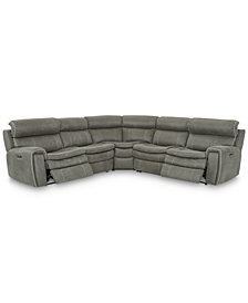 Leilany 5-Pc. Fabric Sectional Sofa with 2 Power Recliners, Power Headrests and USB Power Outlet