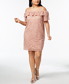 City Studios Trendy Plus Size Off-The-Shoulder Lace Flounce Dress