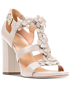 MICHAEL Michael Kors Women's Tricia Block-Heel T-Strap Dress Sandals