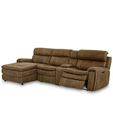 "CLOSEOUT! Leilany 124"" 4-Pc. Fabric Chaise Sectional Sofa with 1 Power Recliner, Power Headrests, Console and USB Power Outlet"