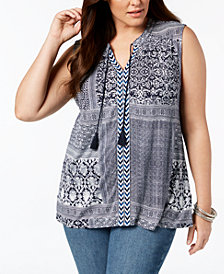 Style & Co Plus Size Printed Sleeveless Peasant Top, Created for Macy's